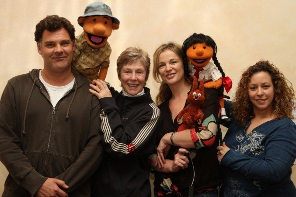 Leading the No Strings team in the UK, Ireland, and USA: Johnie McGlade, Kathy Mullen, Rosie Waller and Heather Asch, with puppets from The Tales of Disasters. Below, reknown puppet artist and No Strings co-founder Michael Frith on the Kibing! shoot