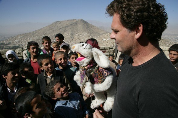 Johnie McGlade's new puppet, Hamish, and the same magical effect on children in Kabul