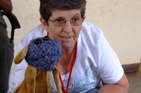 Maureen, blue puppet
