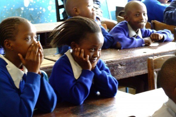 The Kibing! films challenge attitudes among younger children, as here, at a Nairobi school, as well as teenagers