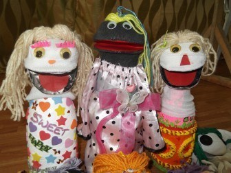 Socks make fantastic puppets too, these ones made in schools in the Philippines