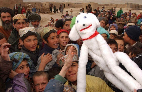 It all started with a gangly old puppet called Seamus, seen here attracting crowds of children in Herat, Afghanistan