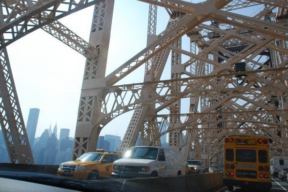 Could be worse: Travelling to the studios over the 59th Street Bridge from Manhatten