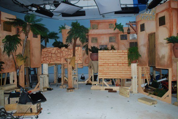 The set, a small town. Notice how the whole build is elevated