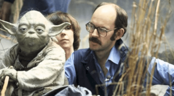 No Strings Artistic Director Kathy Mullen - the right hand of Yoda! On Star Wars set with Frank Oz (all rights reserved Walt Disney Co)