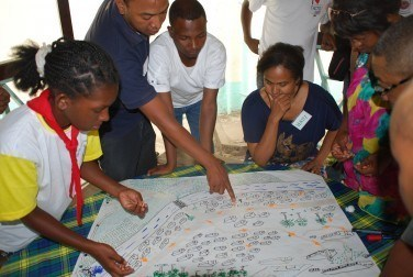 Participants create a village map showing evacuation routes for the most vulnerable, and discuss how best to include different voices in communities they work in